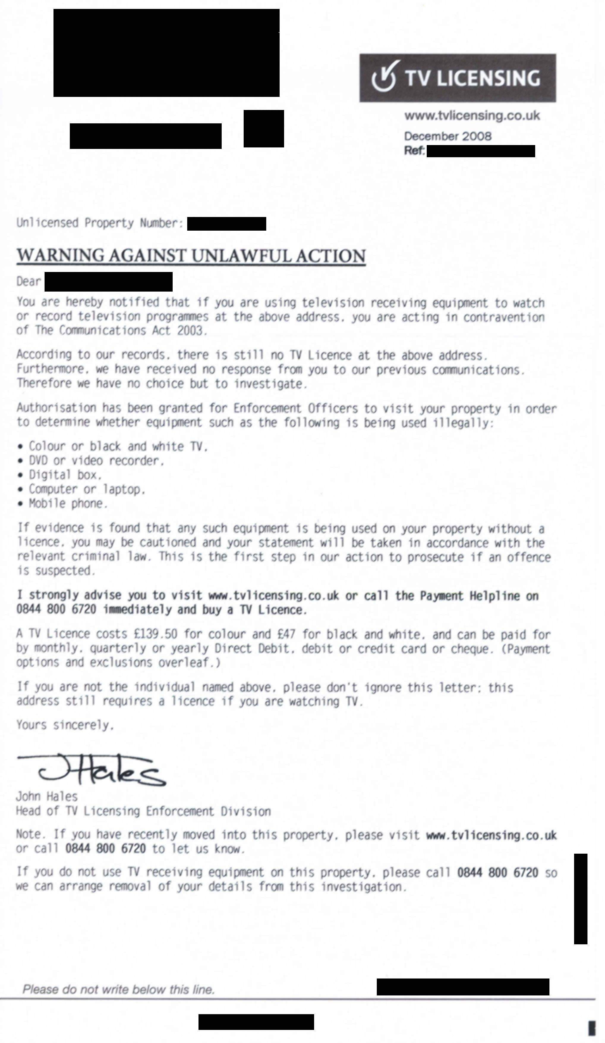 Warning against unlawful action