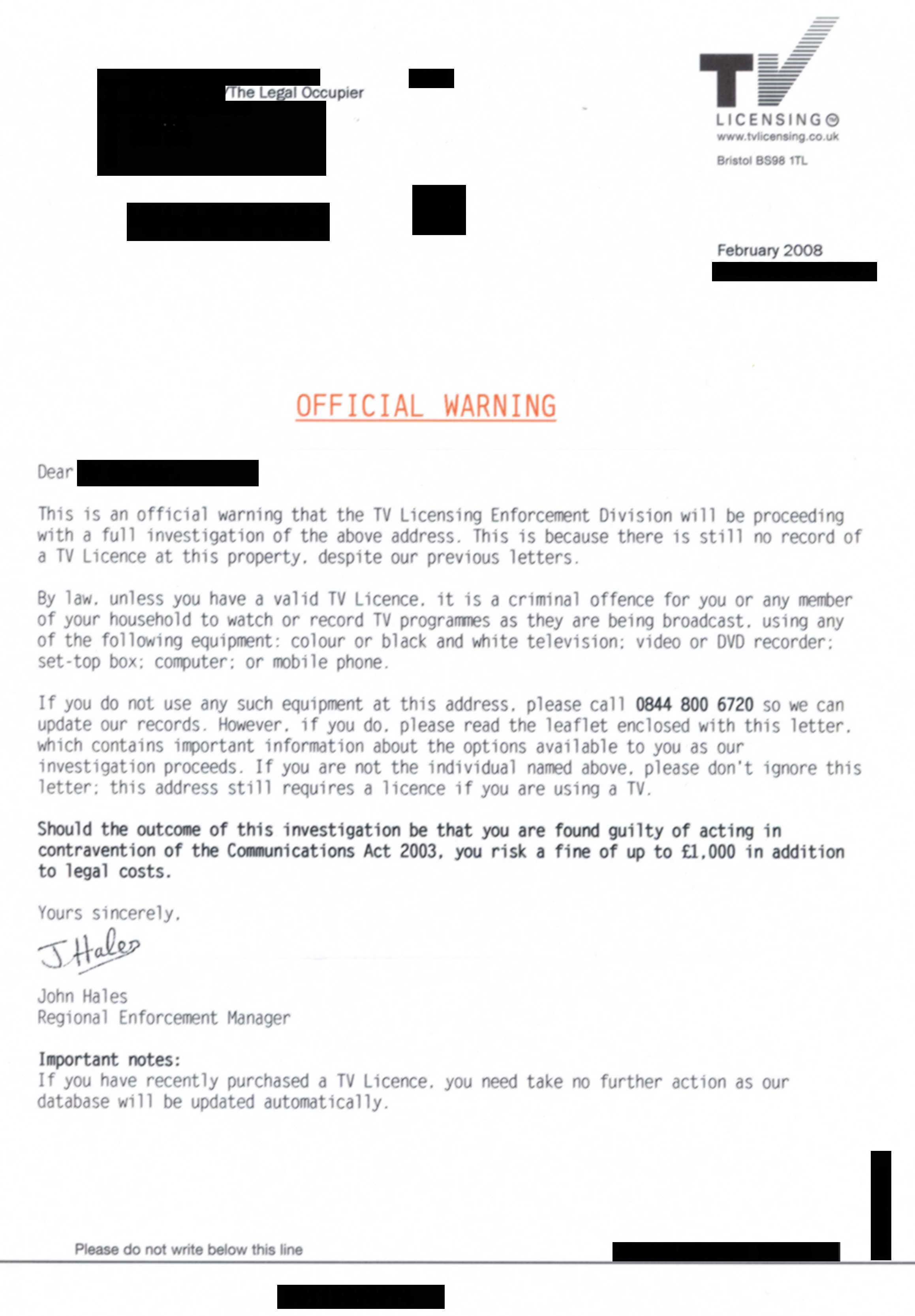 Official warning from TV licensing