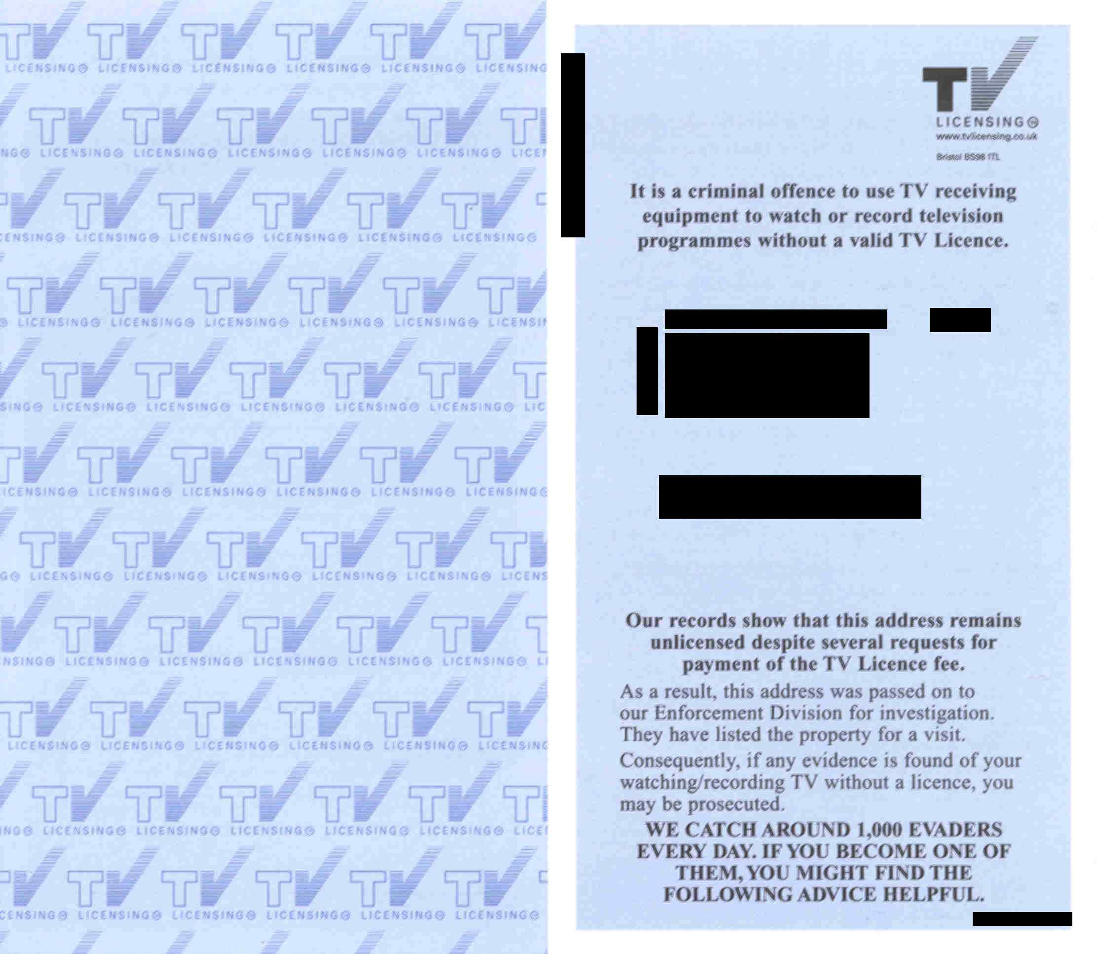 tv Licensing leaflet