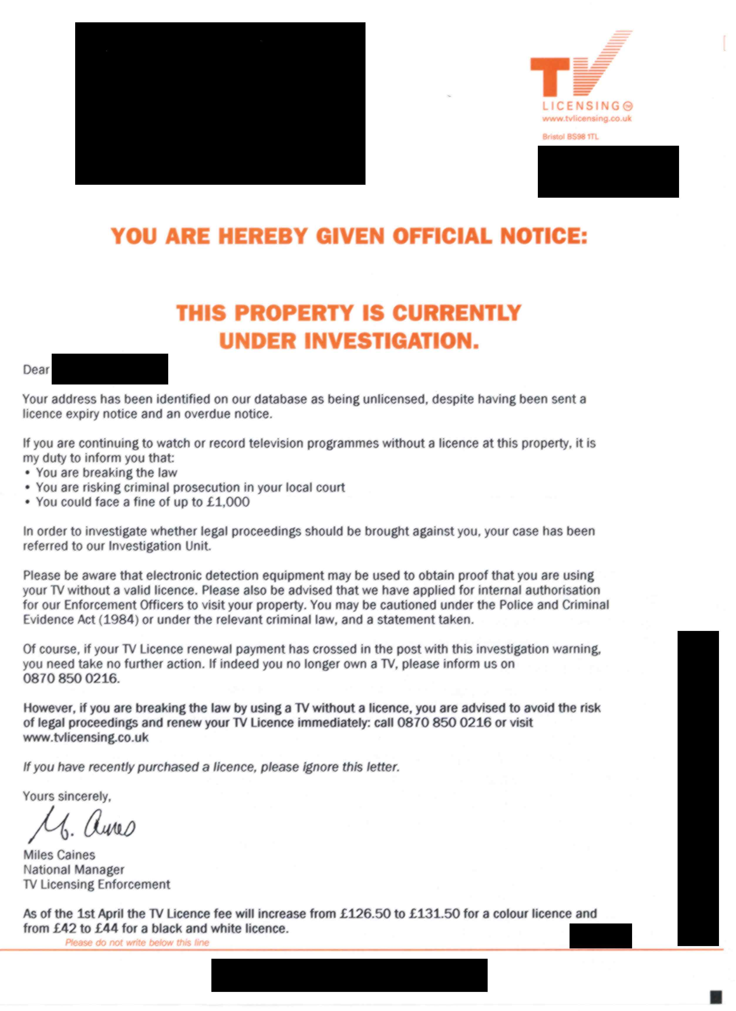 Television licence warning letter