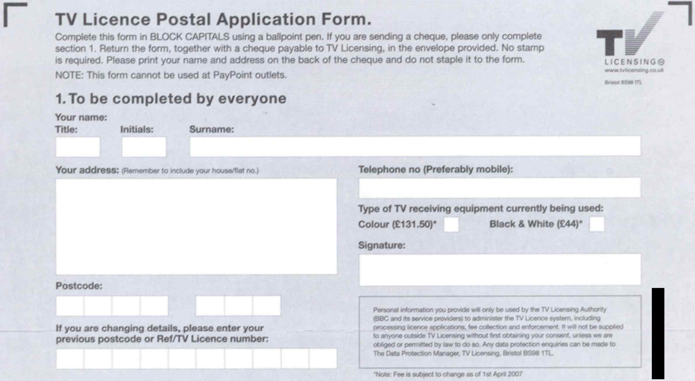 TV Licence application form